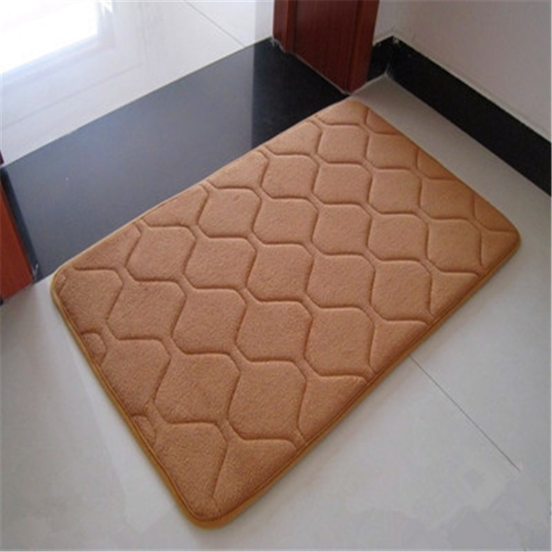 1 Uds. Alfombra de lujo a la moda de terciopelo Coral a rayas con rejilla/espuma viscoelástica antideslizante, alfombra suave para baño, alfombra de baño de espuma viscoelástica de Color puro