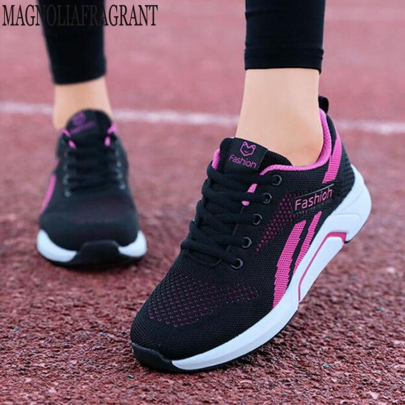 Branco tênis de plataforma respirável verão mulher tênis leve sapatos casuais deslizamento em apartamentos correndo sapatos net feminino c707