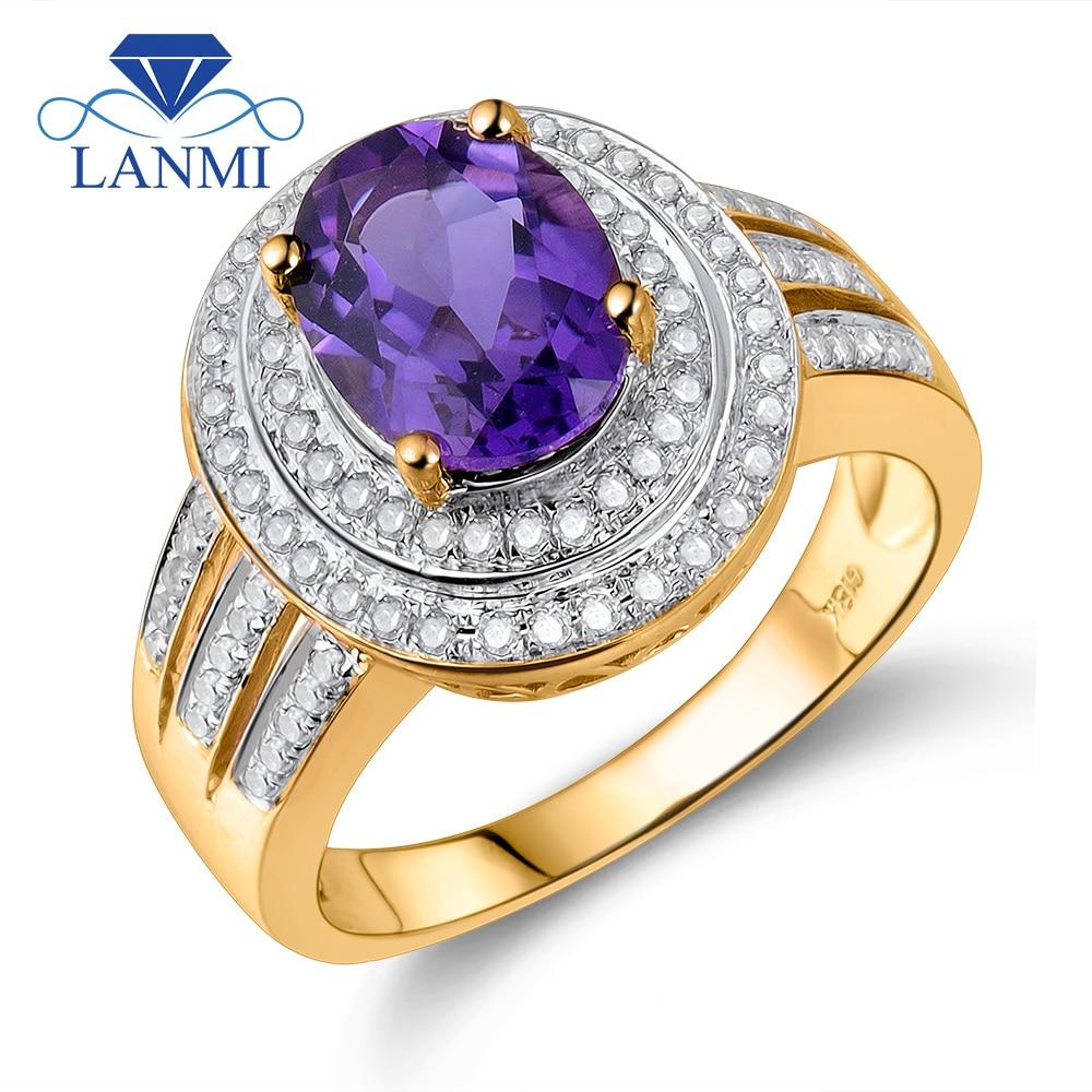 Anillo de compromiso ovalado Vintage de 7x9mm sólido de oro amarillo de 14K amatista púrpura, Diamante y anillos de amatista naturales para mujeres BAB1417