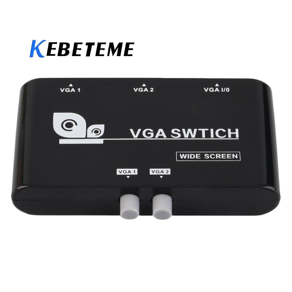 Kebidumei 2 In 1 Heraus VGA/SVGA Manuelle Sharing Selector Switch Box Switcher Mini 2 Port VGA Selector Box für LCD PC