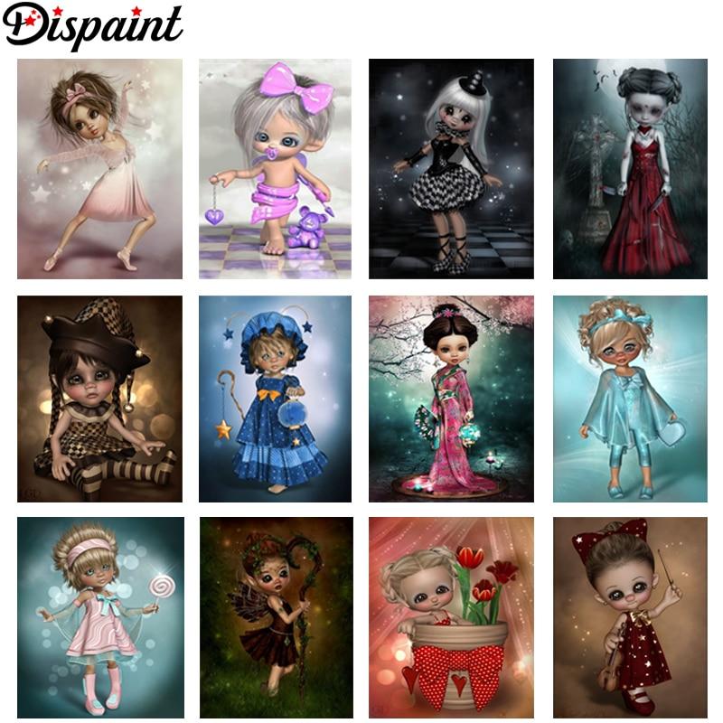"Dispaint Full Square/Round Drill 5D DIY Diamond Painting ""Cartoon Kimono girl"" 3D Embroidery Cross Stitch 5D Home Decor Gift"