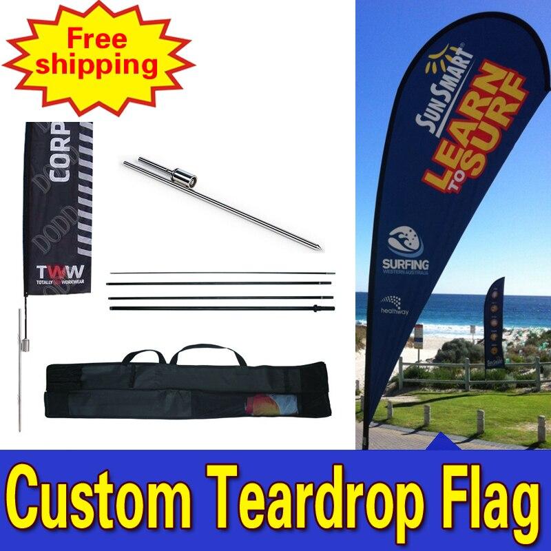 Banderas De lágrima De 70 cm * 225 cm banderas personalizadas De doble cara Impresión De banderines De lágrima banderas con logotipo en el suelo Drapeau De plumas