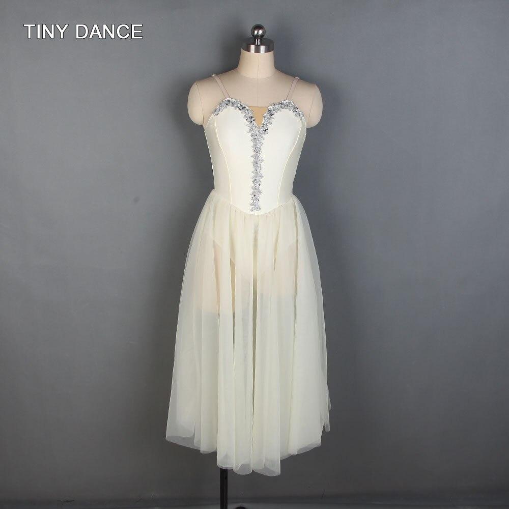 Vestido largo estilo Tutu marfil de LICRA para ballet trajes de baile lírico 19838
