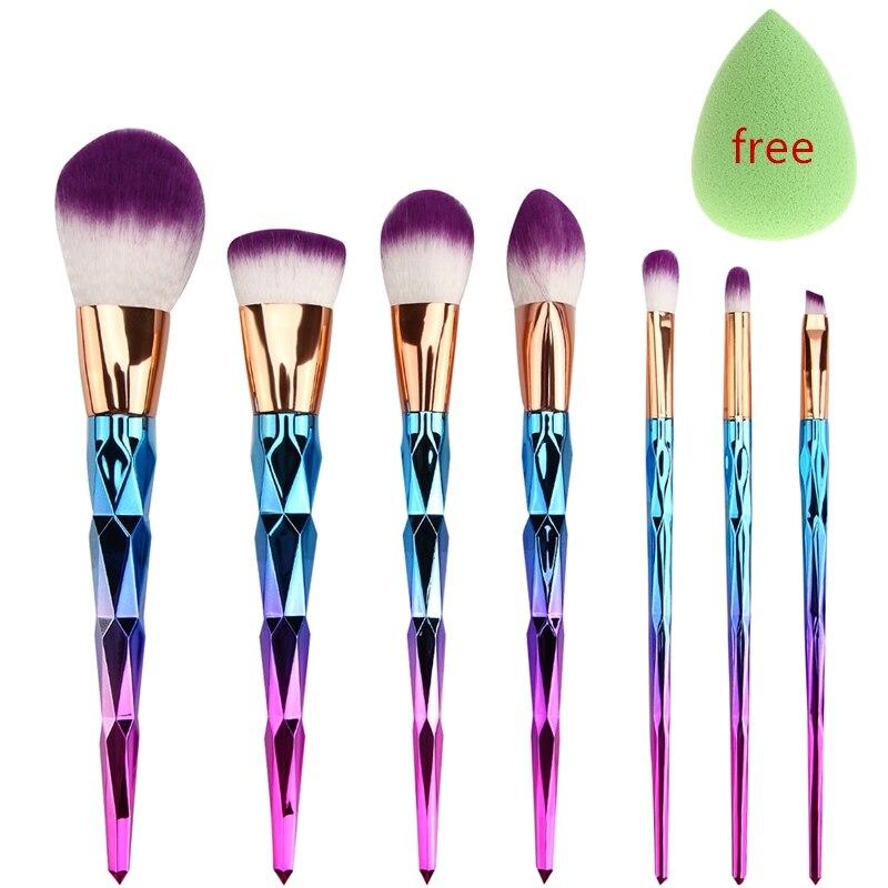 7 pcs Fio de Diamante unicorn Rainbow Spiral pincéis de Maquiagem Beleza Cosméticos Fundação Mistura de Blush Make up Brush tool Kit Set