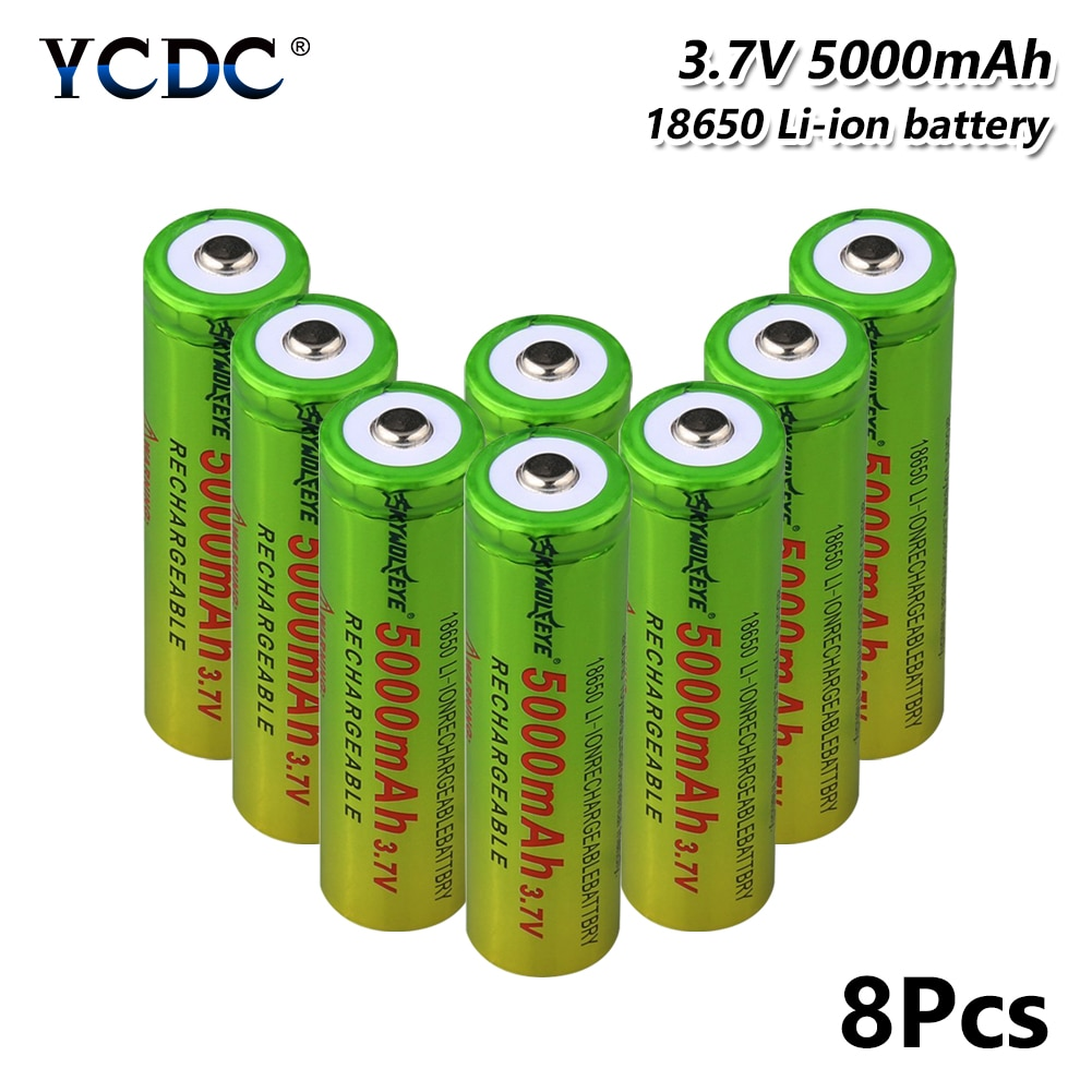 Batería recargable de polímero de litio 18650 li-po 3,7 V 5000mAh baterías de repuesto de litio para linterna de Radio