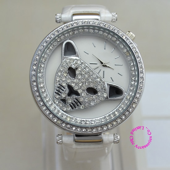 wholesale buyer price good quality luxury fashion Woman crystal silver leopard head japan Watch Wristwatch hour