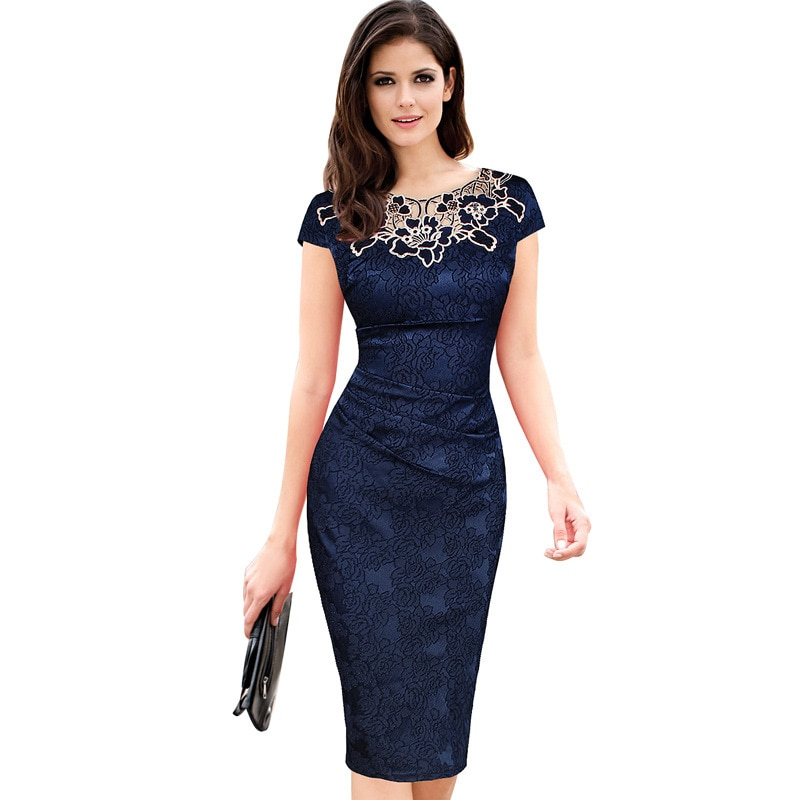 Navy Blue Women Short Evening Party Sheath Dress 2020 Elegant Embroidery Plus Size Robe Vintage Summer Casual Office Dresses
