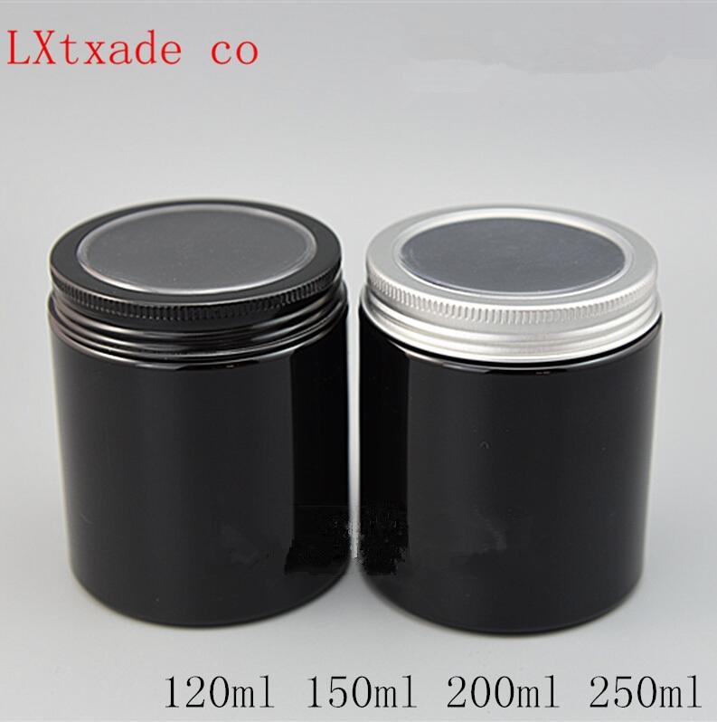 30Epcs 50 مللي 100 مللي 200 مللي 250 مللي سوداء فارغة زجاجة بلاستيكية جرة الألومنيوم مع غطاء النافذة كريم ملح استحمام حزمة حاويات شحن شيب