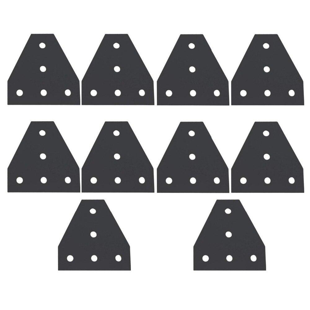 10 piezas negro forma T 5 agujeros 120x120x6mm perfiles de aluminio uniones placas 4040 V- ranura/ranura en T extrusión de aluminio