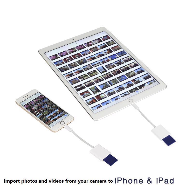 Cámara Compatible Kit lector de tarjeta Digital Cable de datos OTG no APP para iPhone pro 11 xs 5 5 5 6 6 7 8 X IPAD iOS 9,2-13