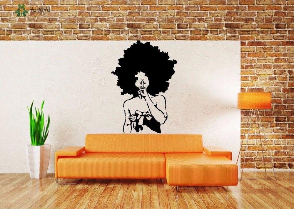 Calcomanía de pared YOYOYU vinilo arte habitación decoración Mural Afro chica ébano señora pelo extraíble Mural para el hogar Decoración de carteles YO482