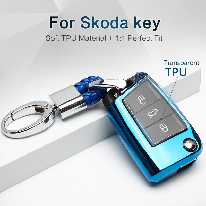 Cubierta suave de la caja de la llave del coche de TPU para Skoda Karoq Octavia 2 3 A5 A7 superb Fabia Rapid Kodiaq 2018 2019 llavero de Yeti accesorios Fob