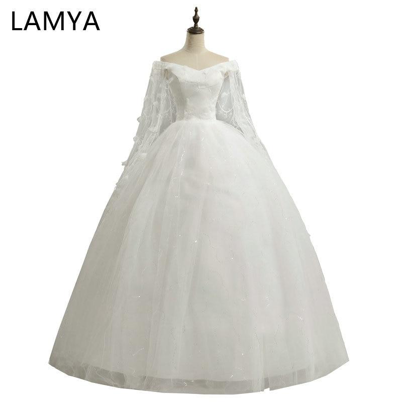 LAMYA-فستان زفاف طويل مخصص من الدانتيل ، ثوب الكرة ، خمر ، الزفاف