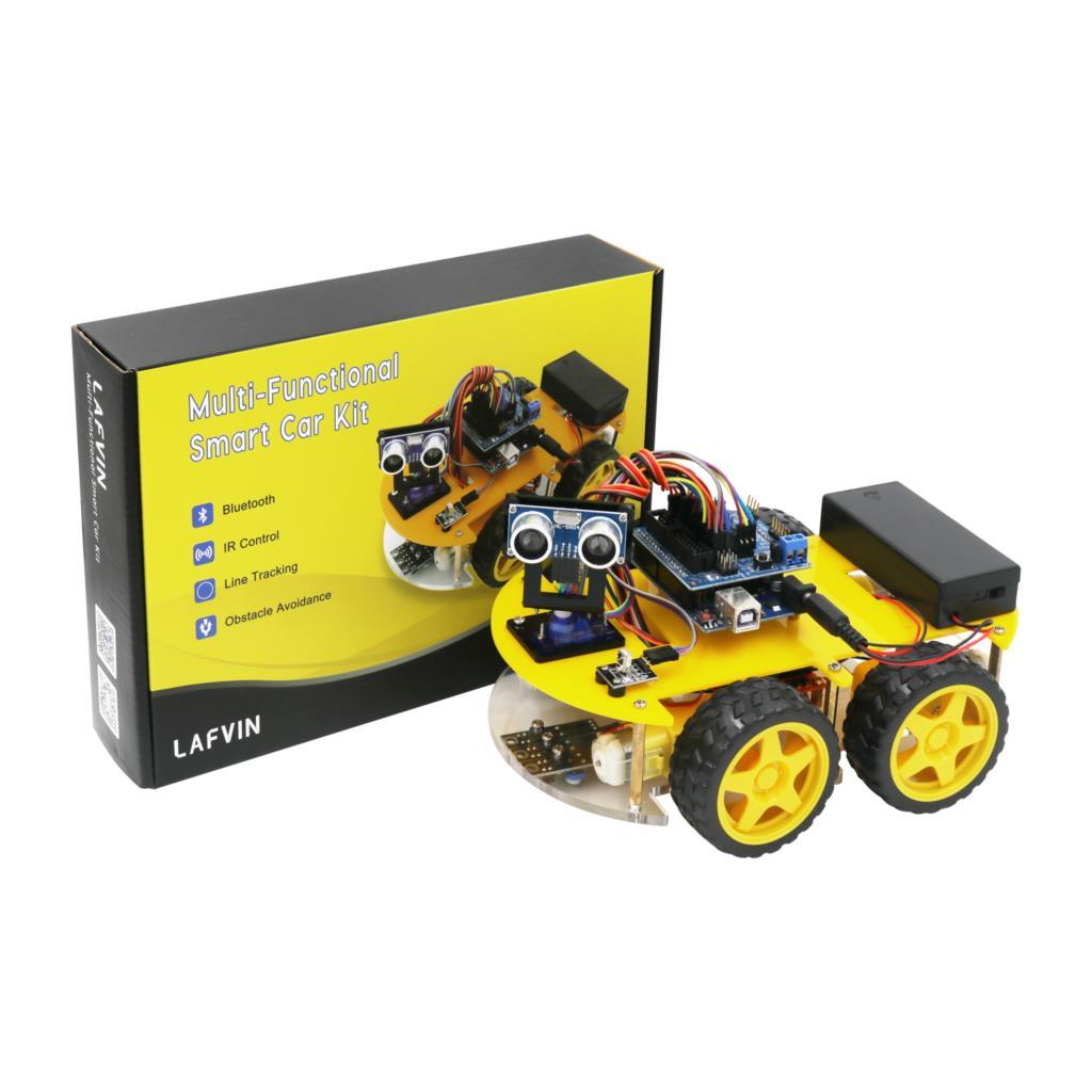 LAFVIN Robot multifunción 4WD Kit de coche módulo ultrasónico Robot Kit de montaje de coche para Arduino para UNO