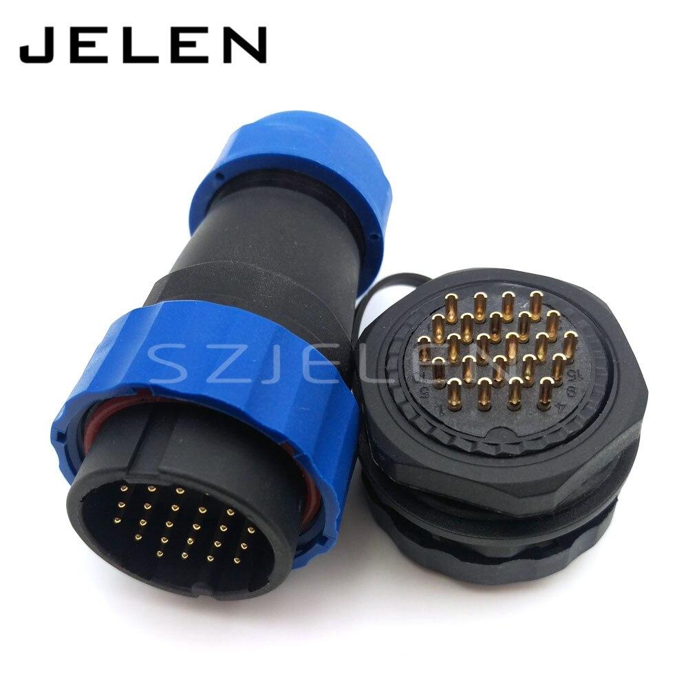 Водонепроницаемый разъем с 24 контактами, IP67, 24 контактами, соединительный кабель питания, монтажный разъем для панели. Резная панель 28 мм