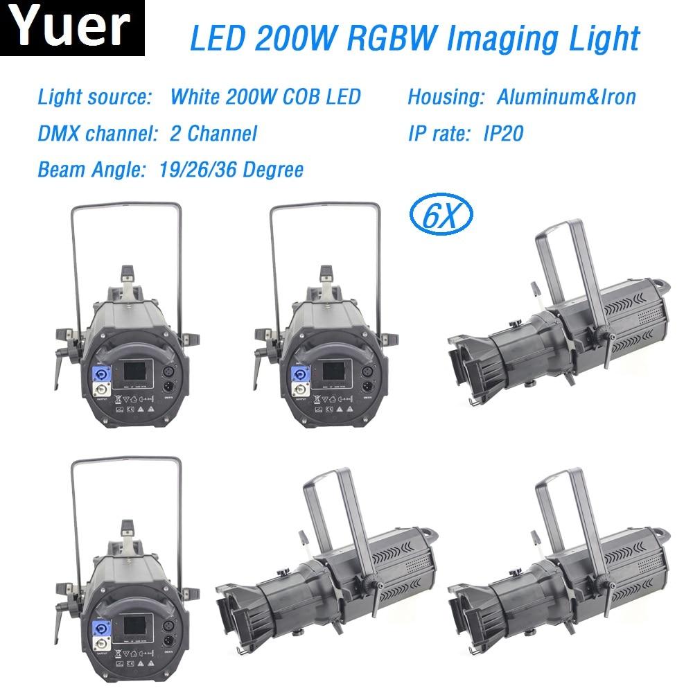 6 unids/lote luz efecto escenario 200W luz par led DMX512 perfil foco led imagen luz gobo 19/26/36 grados haz de luz para DJ box