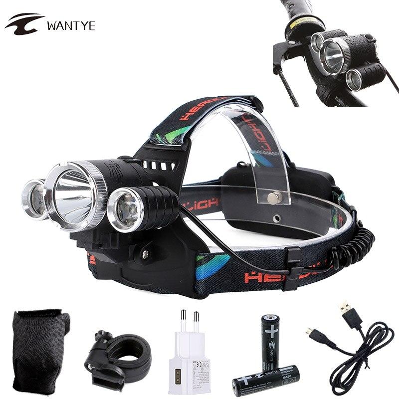 T6 + 2R5 велосипедный светильник налобный фонарь 10000лм USB Перезаряжаемый светодиодный фонарь на голову велосипедный светильник 4 режима Водоне...
