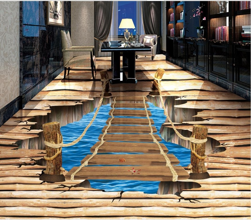 Pegatina moderna 3D piso de madera pura grieta 3D baño sala de estar piso azulejos antideslizantes impermeable autoadhesivo PVC papel tapiz