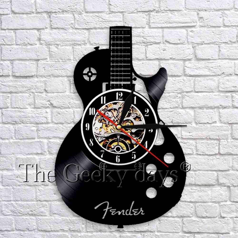 Guitarra acústica parede arte relógio instrumento musical guitarra vinil registro relógios de parede 3d design moderno decoração