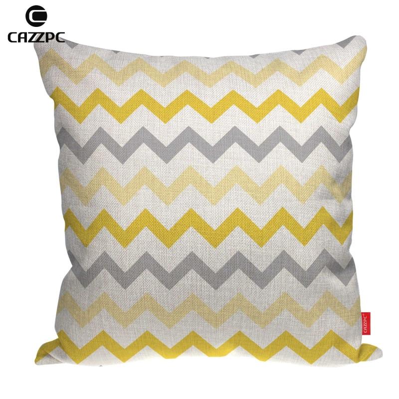 Limón gris Chevron decorativo oro Zigzag impreso Lino coche sofá silla tiro decorativo funda de almohada funda de cojín decoración del hogar