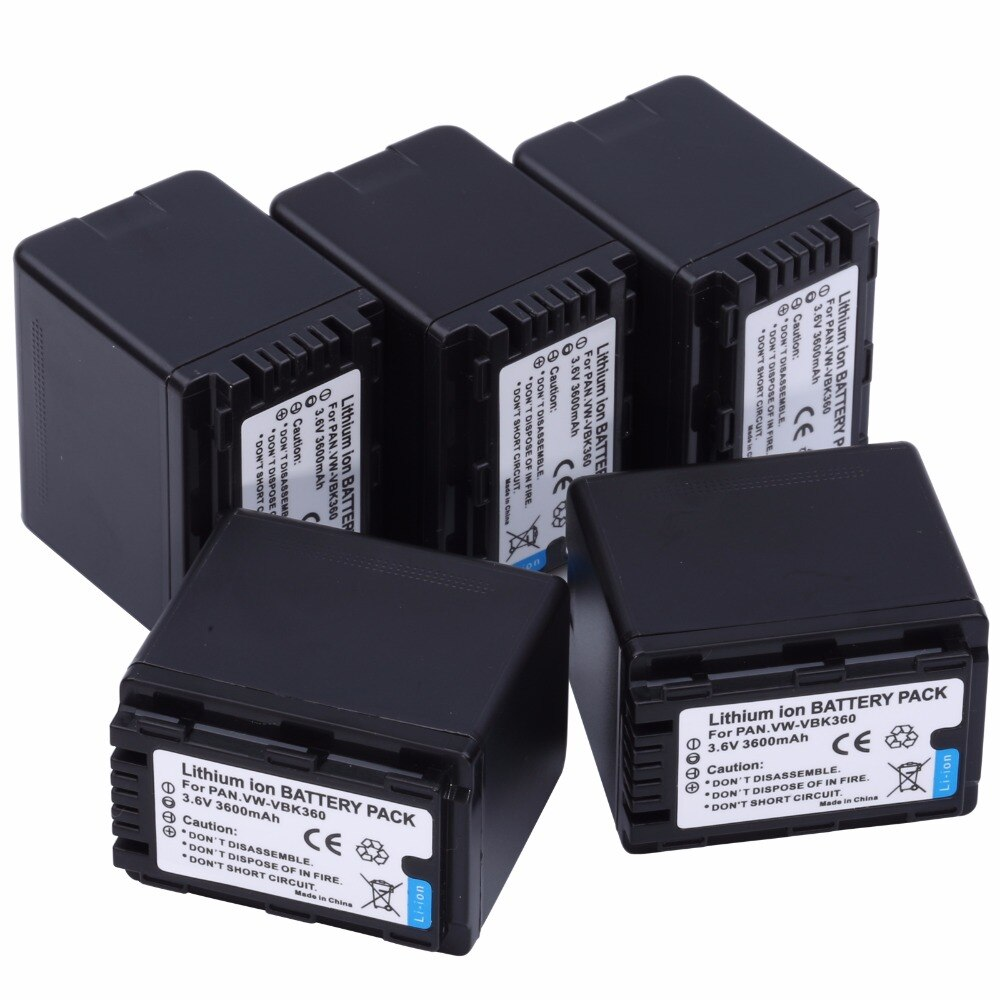 5 uds VW-VBK360 VBK360 baterías recargables para Panasonic HDC-SD40 HDC-SD60 HDC-SD80 HDC-SD90 HDC-SDX1 SDR-H85 SDR-H95 Cámara