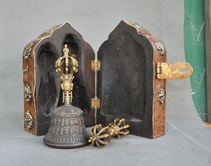 Kerst Oude Tibet Hout Brons Goud Om Mani Padme Hum Dorje Vajra Bell & Houder Box Halloween