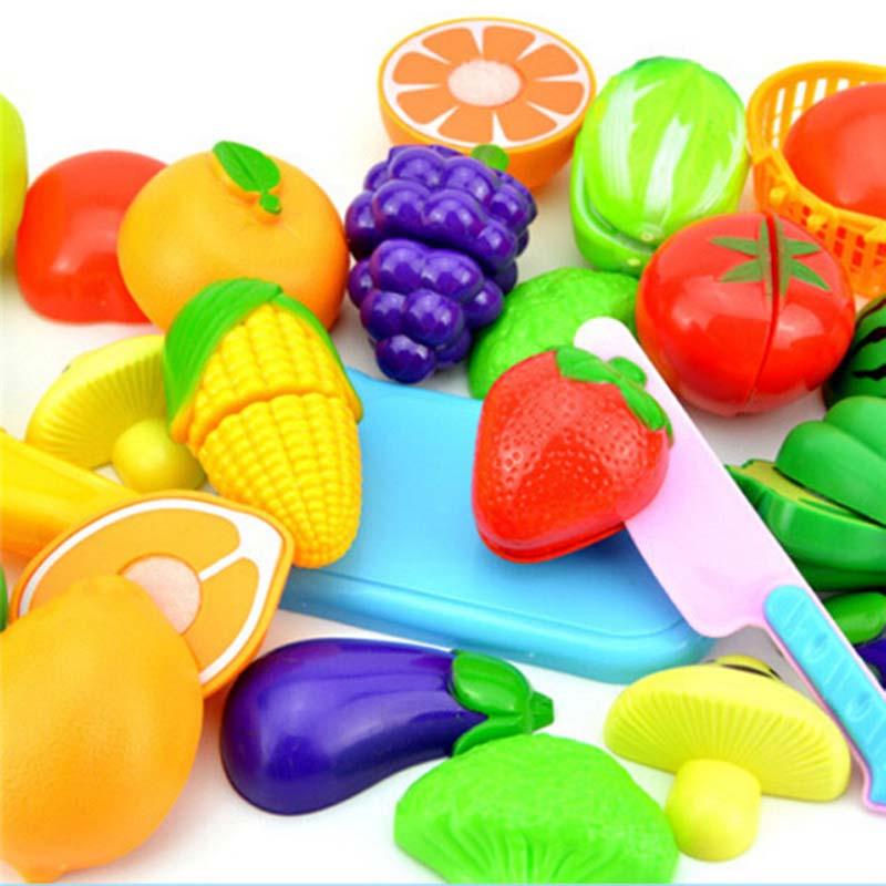 Nuevo 1 juego seguro para niños jugar a la casa de juguete de plástico para alimentos de juguete cortado fruta vegetal cocina para bebés niños simulan jugar juguetes educativos