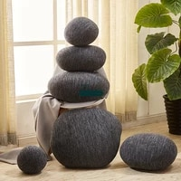 dorimytrader 1 set 6 pcs simulational plush soft striped stone pillow kids play speckle doll toy home decoration dy60688