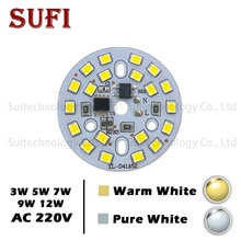 AC220V 3 W 5 W 7 W 9 W 12 W LED Ampul Lamba SMD entegre IC Sürücü alüminyum Işık kaynak paneli için sıcak beyaz led ampul Saf Beyaz
