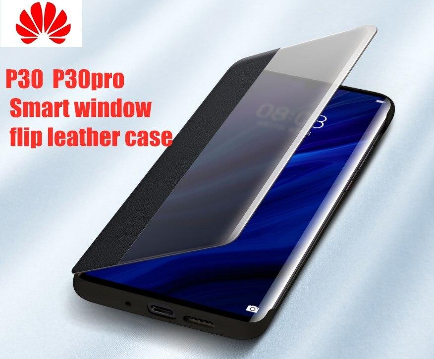 HUAWEI P30 Pro Funda Original oficial Smart vista ventana cuero protección Flip Funda HUAWEI P30 Pro Funda Huawei P30 Funda