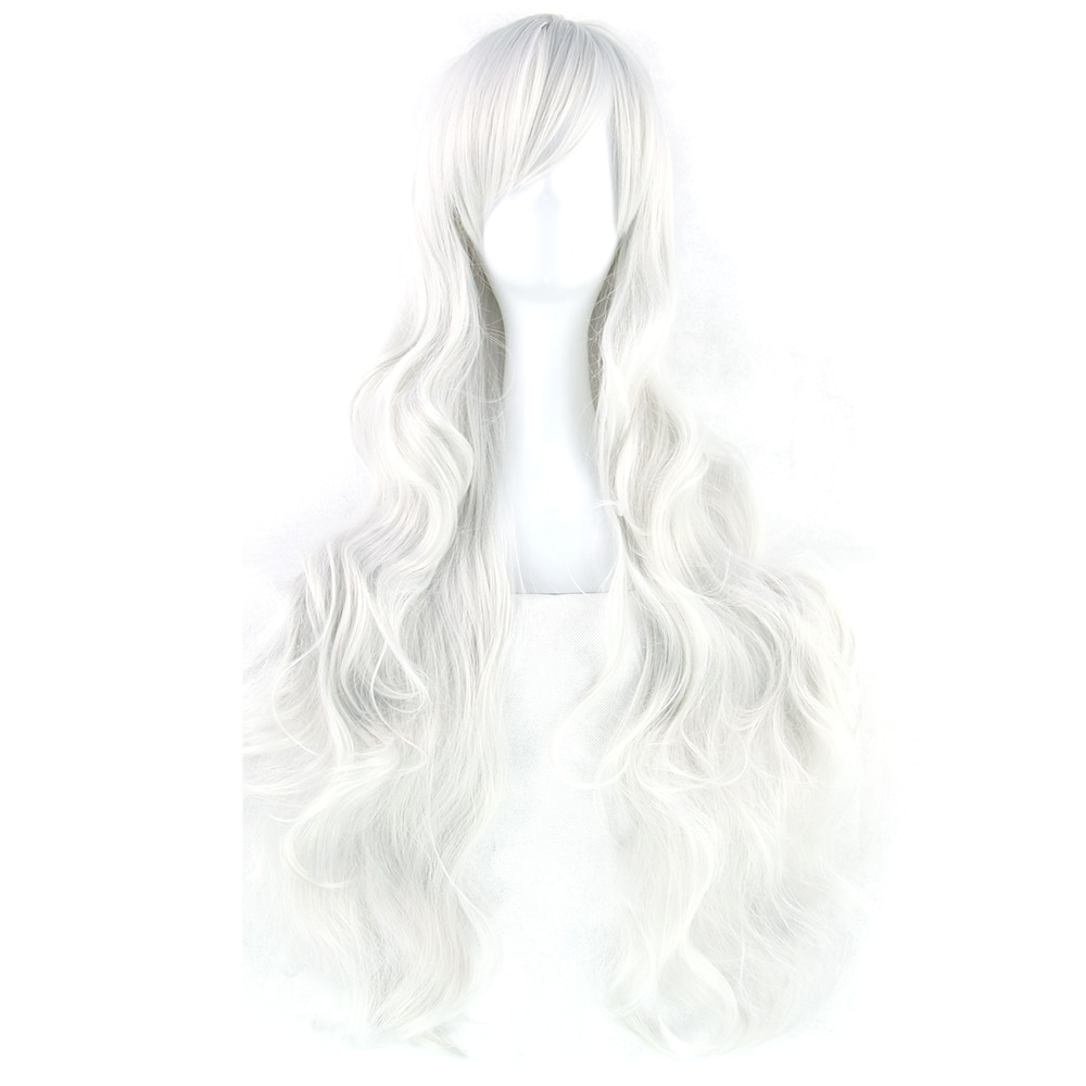 Soowee 20 Colors 32 Inch Long Women Wigs Synthetic Hair Heat Resistant White Black Wavy Cosplay Wig Party Hair Accessories
