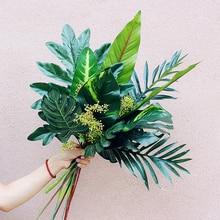 Simulation plante tropicale artificielle mur bricolage   Feuille de palmier verte, feuille de palmier craquelée, décoration de la maison famille fête de mariage