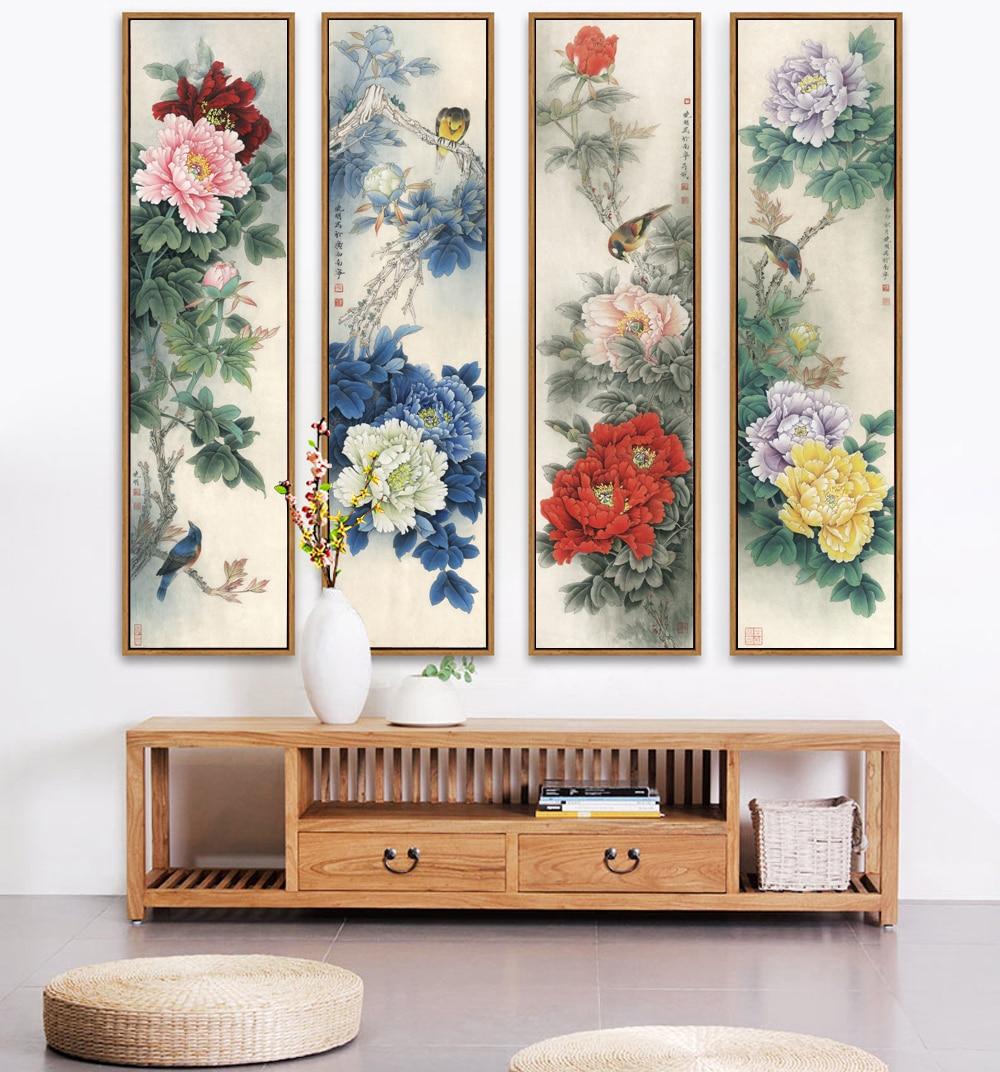 Китайская Картина пиона, традиционная китайская картина, Национальная красоты и Небесный ароматизатор, Unframd парусиновая печать, постер с ри...