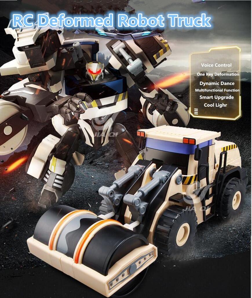 Control remoto inteligente RC deformación robot compactador bulldozer camión 2,4G 45cm gran ingeniería vehículo diamante Robot juguete
