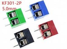 10 sztuk KF301-5.0-2P boisko 5.0mm KF301-2P prosty Pin PCB 2 Pin 3 sworzeń z gwintem blok zacisków złącze