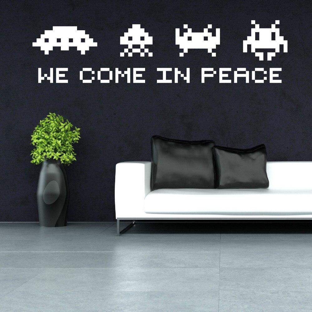 SPACE INVADERS Arte Citação de Parede-viemos em paz Retro Decalque Da Parede Do vinil ADESIVO Jogo SPACE INVADERS Jogo Room Decor Mural ZB313