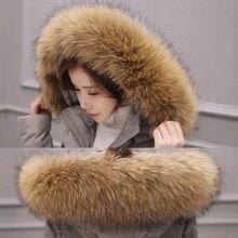 Женское пальто с воротником из натурального меха енота, роскошное пальто с воротником и воротником, зима 2019