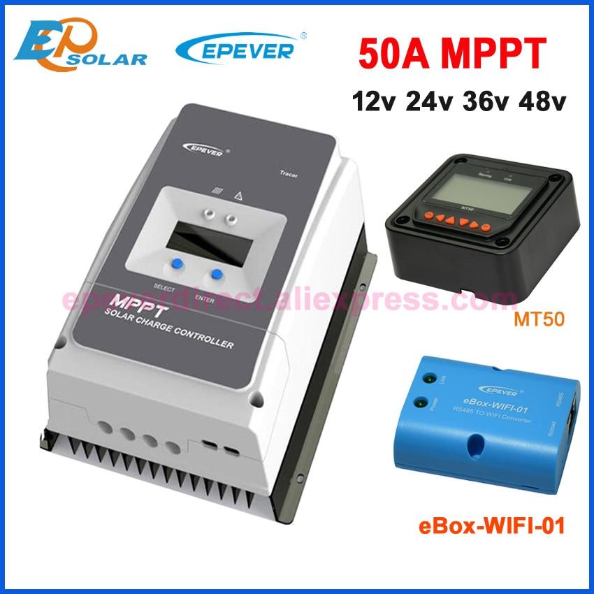 جهاز التحكم بالشحن بالطاقة الشمسية EPever 50A 60A 80A 100MPPT 12V24V36V48V بحد أقصى 150V 200V PV إدخال التأريض السلبي المشترك 6415AN 6420AN