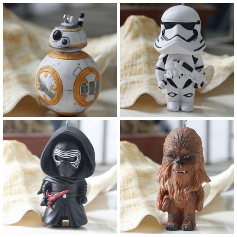 Star Wars despierta BB8 Darth Vader de PVC colgante guerra espacial BB-8 figuras de acción de juguete llavero regalo para los niños