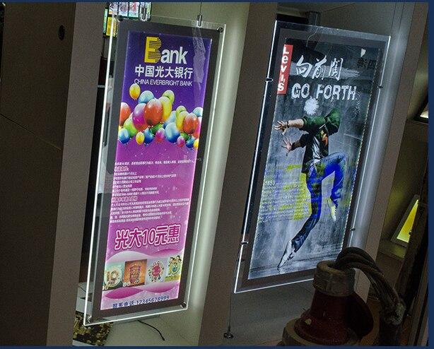 Frete grátis (10 pçs/lote) Ultra Fino A4 Display LED Magnetic Painel Dupla Face Agente Imobiliário, cabo de Fio de Suspensão de Exibição Da Janela