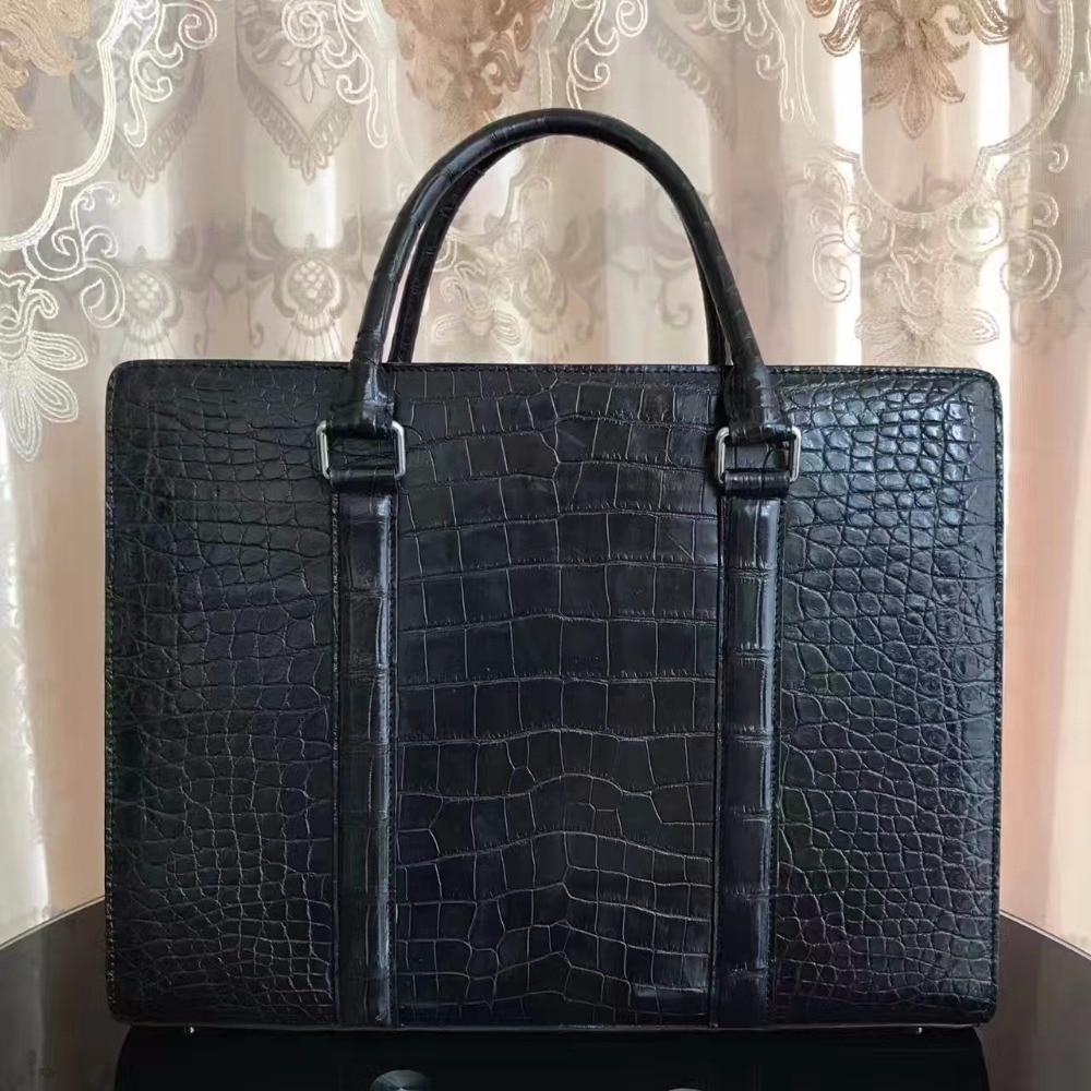 Новая мужская деловая сумка, черная крокодиловая кожа живота, мужской портфель, 100% натуральная крокодиловая кожа, мужская деловая сумка для...