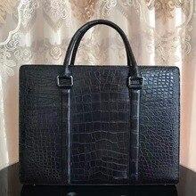 Nouveau hommes daffaires sac noir crocodile ventre peau porte-documents pour homme, 100% véritable peau de crocodile hommes sacoche pour ordinateur portable professionnel
