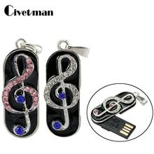 Fashion Necklace Music Note Pendant USB Flash Drive 4GB 8GB 16GB 32GB Pendrive 64GB Pen Drive U Disk Memory Stick Gift