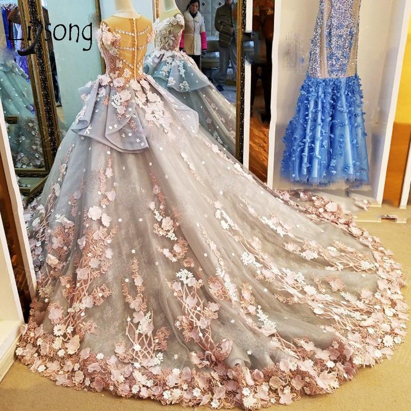 Saudi Arabia Floral Wedding Dresses Crystal Bridal Ball Gowns Bow Ruffles Pearls Vestidos De Noiva Embroidery Vestidos De Noiva