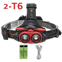 zooable 2 x xm l t6 led headlamp 2 led headlight usb rechargeable flashlight torch lanterna 18650 battery charger cable