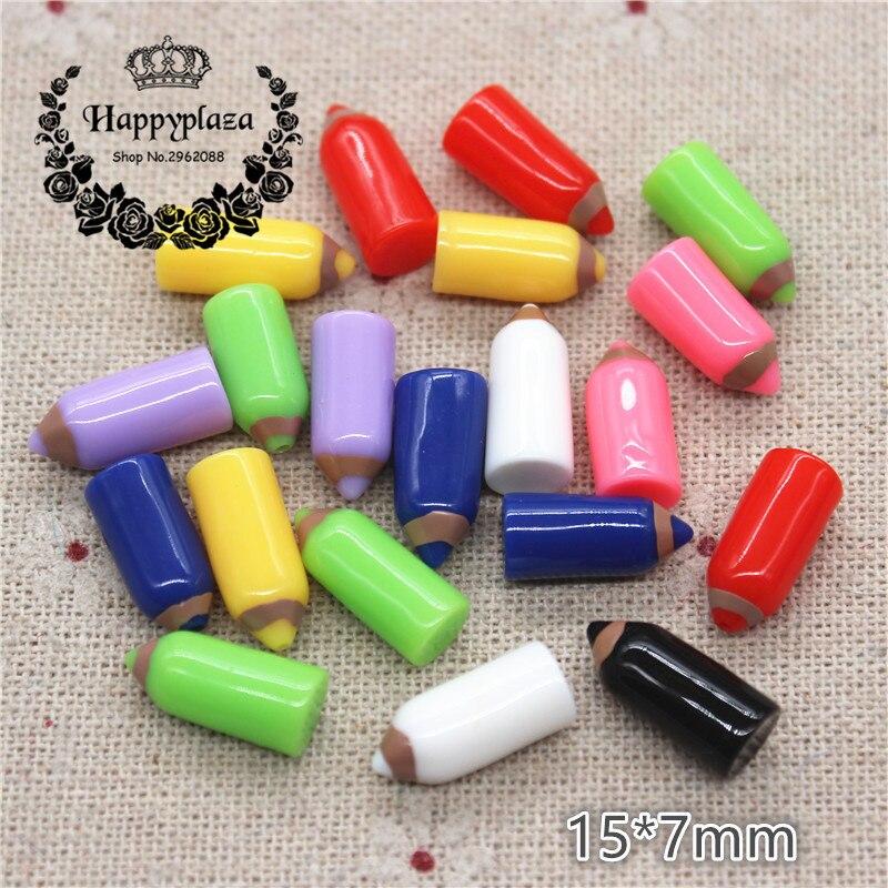 20 Uds Kawaii mezclar colores 3D miniatura de resina Crayon DIY accesorio para manualidades accesorios de decoración para jardín de Casa 15*7mm