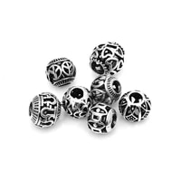 10pcslot 5mm mixed round european charms zinc alloy antique silver large hole beads spacer diy bracelets findings for jewelry