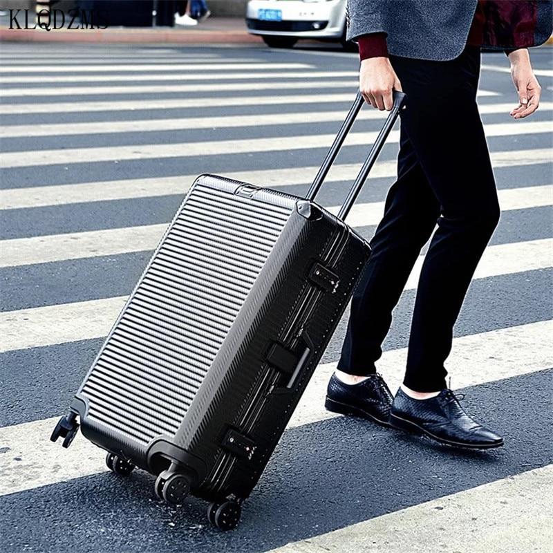 KLQDZMS 20/24/26/29 بوصة عالية الجودة الألومنيوم إطار المتداول الأمتعة سبينر عالية قدرة سفر الأعمال حقيبة على عجلات