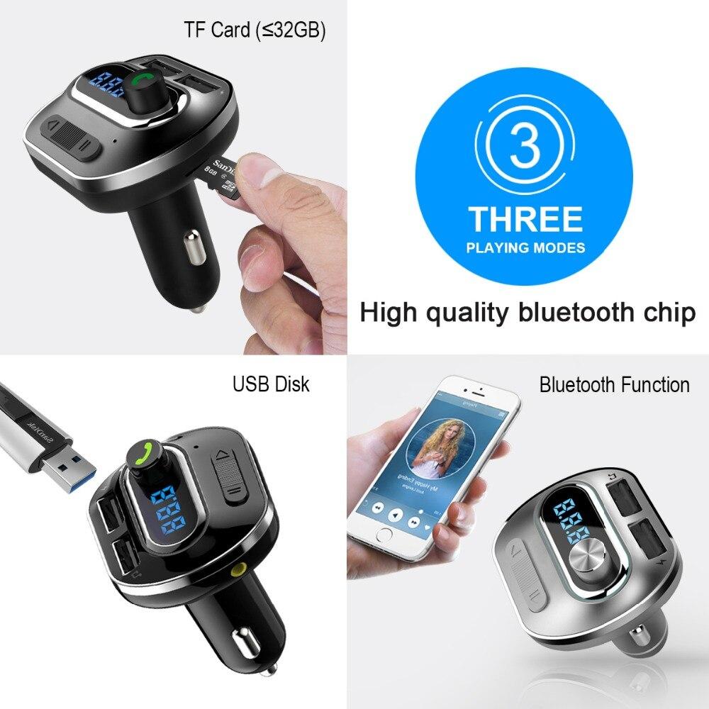Fm-передатчик Aux модулятор Bluetooth Handsfree Car Kit Audio MP3 плеер с 5V 2.1A Dual USB Автомобильное зарядное устройство