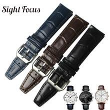20mm Bracelet de montre pour IWC Portofino marque remplacement Bracelet cuir montre noir café bleu montre ceinture homme Bracelet Hombre Correa